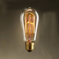 40w ST58 lâmpadas incandescentes edison 19 e27 de seda lâmpadas decorativas retro fio vertical,