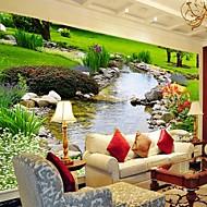 現代の3Dシニー革効果の大きな壁画の壁紙緑の自然と流れ芸術の壁の装飾