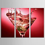 Canvas Set Stilleven / Voedsel Modern / Klassiek,Drie panelen Canvas Verticaal Print Art wall Decor For Huisdecoratie
