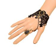 Lolita Jewelry Classic/Traditional Lolita Bracelet with Bow Ring Set Princess/Vintage Handmade Black Lace Retro Style Lolita Accessories Bracelet