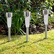 Set of 8 White Stainless Steel Solar Path Lights Lawn Lamp Solar Garden Light Stake
