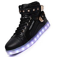 Feminino-Botas-Conforto Light Up Shoes-Rasteiro-Preto Vermelho Branco-Couro-Casual