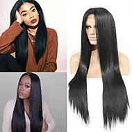 высокого качество жаростойкого волокна черного цвет длинные естественные прямые черные синтетические средняя часть кружева передние парики