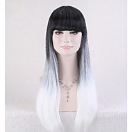 2015 New Arrival Lolita Gradient Black+Gray Wig Women Long Straight Ombre Hair Cosplay Anime Full Wigs
