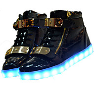 LED Light Up Shoes, Unisex Athletic Shoes Spring Summer Fall Winter Novelty Microfibre Outdoor Casual Athletic Flat Heel Lace-up Hook & Loop Black