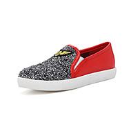 נשים-נעליים ללא שרוכים-PU נצנצים-נוחות-לבן שחור אפור כהה אדום-משרד ועבודה יומיומי ספורט-עקב שטוח