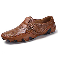 Herre-Lær-Flat hæl-Mokkasin-一脚蹬鞋、懒人鞋-Fritid-Svart Bronse