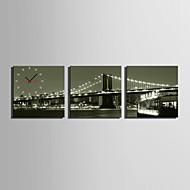 MINI SIZE E-HOME Bridge Night Scenery Clock in Canvas 3pcs