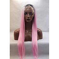Ženy Růžová Rovné Přírodní vlasová linie Umělé vlasy Se síťovanou přední částí Přírodní paruka Paruka Halloween Karnevalová paruka paruky