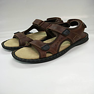 Men's Sandals Summer Other Comfort Cowhide Outdoor Office & Career Casual Others Magic Tape Hook & Loop Split Joint Hollow-out Dark Brown