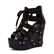 Women's Sandals Summer Creepers PU Dress Casual Wedge Heel Black White Silver