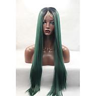 wysokiej jakości włosy syntetyczne ciemnozielone ombre peruki dla kobiet opornych głębokiej części długa jedwabna prosto syntetyczne