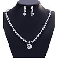 Šperky Set Zirkon Měď minimalistický styl Pro nevěstu Stříbrná Halloween Denní Ležérní 1Nastavte 1 x náhrdelník 1 x pár náušnicSvatební