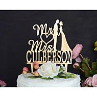 Kakepynt Personalisert Klassisk Par Monogram Kort Papir Bryllup Jubileum Utdrikkingslag Gul Klassisk Tema Vintage Tema Rustikk Tema 1