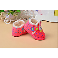 Barn Baby Flate sko Første gåsko Tekstil Vinter Avslappet Første gåsko Flat hæl Brun Rosa Under 2,5 cm