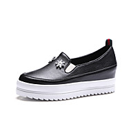 Women's Loafers & Slip-Ons Spring Summer Fall Creepers PU Office & Career Party & Evening Casual Creepers Rhinestone Black White Walking