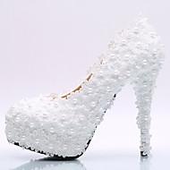 Women's Heels Spring Summer Fall Winter Comfort Novelty Silk Wedding Party & Evening Stiletto Heel Platform Jewelry HeelPearl Ruched