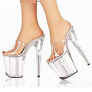 Feminino-Sandálias-Conforto Inovador Chanel-Salto Agulha-Branco Vermelho-PVC-Casamento Social Festas & Noite