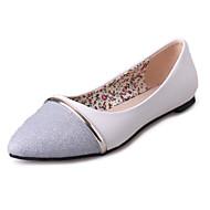 Damen-Flache Schuhe-Lässig-PU-Flacher Absatz-Komfort Ballerina-Weiß Silber Metallisch