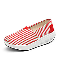 Women's Flats Spring Summer Fall Winter Crib Shoes Fabric Office & Career Athletic Casual Wedge Heel Creepers Black Red Walking