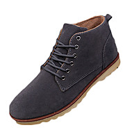 Men's Boots Spring Fall Comfort Suede Office & Career Casual Flat Heel Lace-up Black Brown Gray Walking