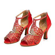 Для женщин-Дерматин-Персонализируемая(Черный Красный Горчичный) -Латина Танцевальные кроссовки Современный