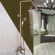 Antik Traditionell Duschsystem Wasserfall Breite spary Handdusche inklusive with  Keramisches Ventil Einzigen Handgriff Zwei Löcher for