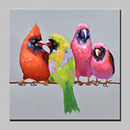 Large Hand Painted Four Little Bird Animal Oil Painting On Canvas Modern Abstract Wall Art For Living Room Home Decoration Ready To Hang