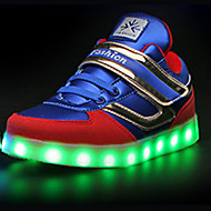Boy's Sneakers Spring Fall Comfort Microfibre Casual Flat Heel Lace-up LED Black Royal Blue Walking