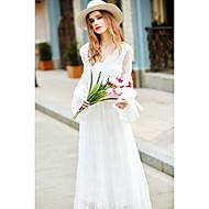 Dames Uitgaan Vakantie Eenvoudig Ruimvallend Jurk Effen-V-hals Midi Lange mouw Wit Polyester Lente Medium taille Inelastisch Medium