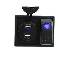 로커 스위치 점퍼 전선 및 주택 소유자와 DC 12V / 24V 주도 디지털 4.2A 듀얼 USB 전압계 충전기 소켓