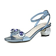 Women's Sandals Spring Summer Fall Slingback Club Shoes Comfort Cowhide Office & Career Party & Evening Dress Rhinestone BuckleSilver