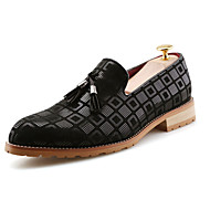 Men's Oxfords Spring Fall T-Strap PU Outdoor Office & Career Party & Evening Flat Heel Tassel Black Red Silver Gold Other