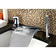 Contemporary Country Art Deco/Retro Widespread Waterfall with  Ceramic Valve Single Handle Three Holes for  Chrome , Bathtub Faucet