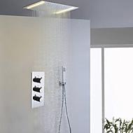 Σύγχρονο Σύστημα Ντουζ LED Ντουζιέρα Βροχή Περιλαμβάνεται Τηλέφωνο Ντουζιέρας with  Κεραμική Βαλβίδα Τρεις λαβές τρεις οπές for  Χρώμιο ,