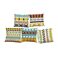 Set of 5  Geometric triangular pattern Linen Pillowcase Sofa Home Decor Cushion Cover