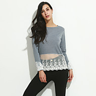 Women's Casual/Daily Simple Fall Blouse,Patchwork Round Neck Long Sleeve Gray Cotton Medium
