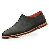 גברים-נעלי אוקספורד-עור-נוחות-שחור חום חאקי-יומיומי-עקב שטוח