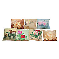 Set of 7 Peony pattern   Linen Pillowcase Sofa Home Decor Cushion Cover