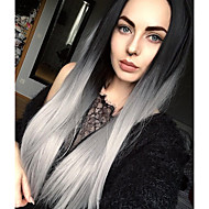 Sweety Ombre Silver grey Long Straight Synthetic Wig