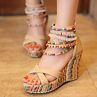 Women's Sandals Spring Summer Fall PU Dress Casual Party & Evening Wedge Heel Pearl Orange Blue Blushing Pink Almond