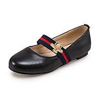 Women's Flats Spring Summer Fall Winter Comfort Leatherette Office & Career Dress Casual Chunky Heel Ribbon Tie Black Blue Pink Red White