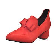 Žene Čizme Jesen Udobne cipele Brušena koža Ležeran Niska potpetica Mašnica Crna Crvena Mat crna kaciga Hodanje