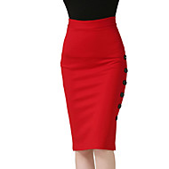 Women's Plus Size Pencil Bodycon Solid Slim Hin Thin Split SkirtsCasual/Daily Work Simple Street chic High Rise Knee-length Elasticity Polyester