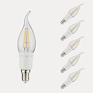 3W E12 LED-hehkulamput B 4 COB 380/300 lm Lämmin valkoinen Kylmä valkoinen AC 110-130 V 6 kpl