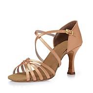Для женщин-Атлас-Не персонализируемая(Черный Горчичный Темно коричневый) -Латина Танцевальные кроссовки Современный Сальса Обувь для