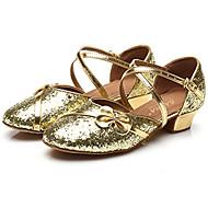Sapatos de Dança(Vermelho Prateado Dourado) -Infantil-Personalizável-Latina