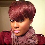 Femme Perruques capless à cheveux humains Noir vin foncé Court Raide Coupe Lutin Coupe Dégradée Avec Frange Partie latérale