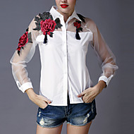 Dames Verfijnd Lente Zomer Overhemd,Uitgaan Geborduurd Overhemdkraag Lange mouw Wit Zwart Polyester Dun