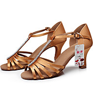 Customizable Women's Dance Shoes Satin Satin Latin / Ballroom Sandals Customized Heel Performance Black / Brown